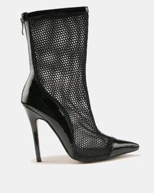 Public Desire Spike Mesh Stiletto Heel Ankle Boots Black