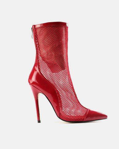 Public Desire Spike Mesh Stiletto Heel Ankle Boots Red