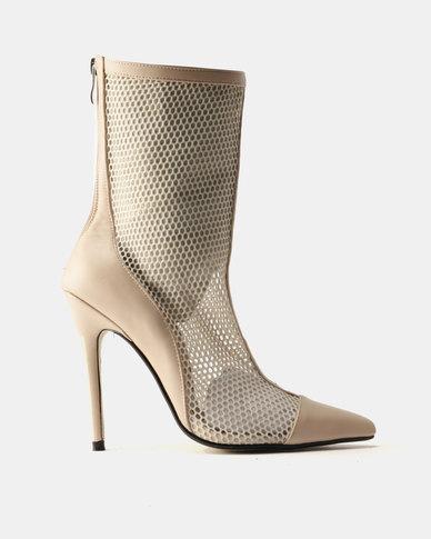 Public Desire Spike Mesh Stiletto Heel Ankle Boots Nude