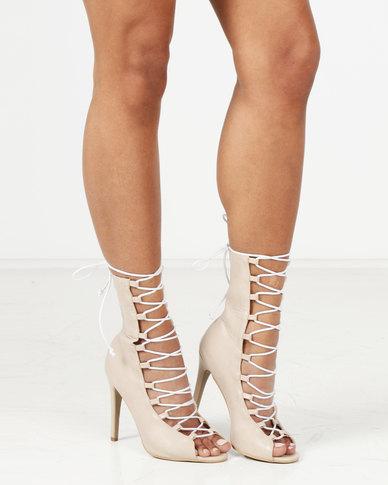 Public Desire Stockholm Lace Up Stiletto Heel Ankle Boots Grey/White