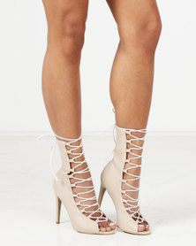 Public Desire Stockholm Lace Up Stiletto Heel Ankle Boots Grey/White