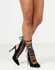 Public Desire Submission Silver Chain Detail Lace Up Ankle Boots Black