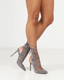 Public Desire Submission Silver Chain Detail Lace Up Ankle Boots Grey