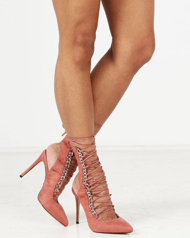 Public Desire Submission Silver Chain Detail Lace Up Ankle Boots Pink