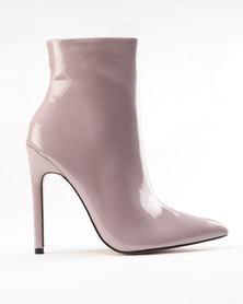 Public Desire Yuri Contrast Stiletto Heel Ankle Boots Purple