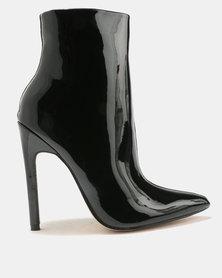 Public Desire Yuri Contrast Stiletto Heel Ankle Boots Black
