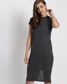 Brave Soul Midi Length Cut & Sew Dress Charcoal
