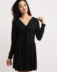 Brave Soul Long Sleeve Skater Dress Black