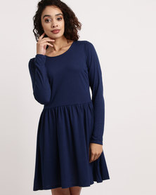 Brave Soul Long Sleeve Skater Dress Midnight Blue