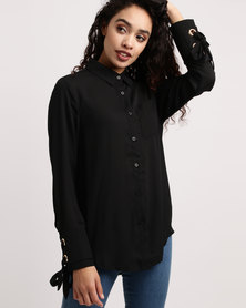 Brave Soul Solid Colour Shirt With Eyelet Detail Black