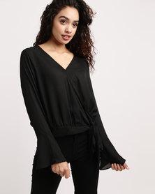 Brave Soul Wrap Solid Colour Blouse Black