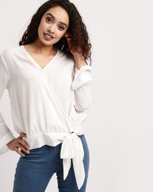 Brave Soul Wrap Solid Colour Blouse Cream