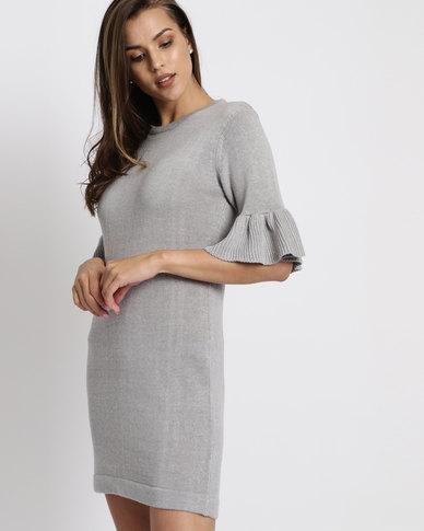 Brave Soul Frilled Half Sleeve Dress Grey