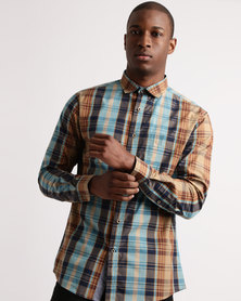 JCrew Check Long Sleeve Shirt Taupe/Turquoise