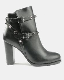 Utopia PU Stud Boots Black