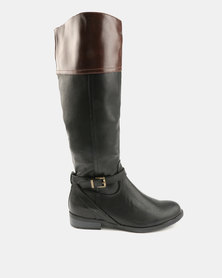 Utopia Two Tone Rider Boots Black Brown