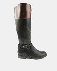 Utopia Two Tone Rider Boots Black Brown