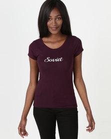 Soviet Short Sleeve Crew Neck T-shirt Purple