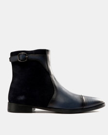Roberto Morino Sanjo 3 Leather/Suede Formal Slip On Boots Navy