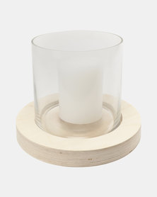 Native Decor Plywood Hurricane Candle White