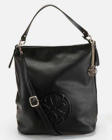 Queue Hobo With Embroidery Handbag Black