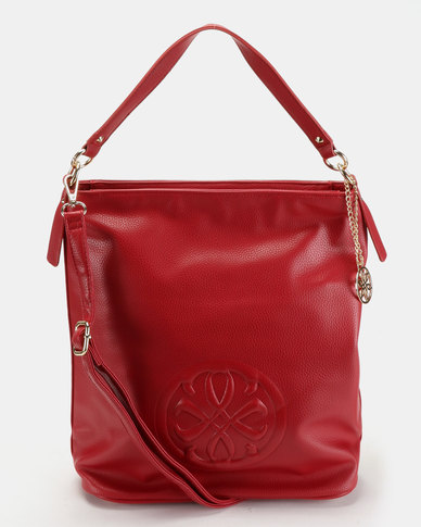 Queue Hobo With Embroidery Handbag Red