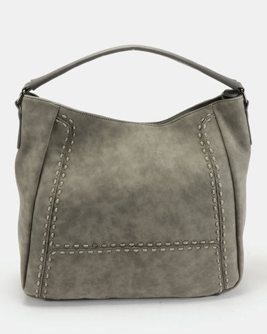 Queue Relaxed Hobo With Stitching Detail Grey