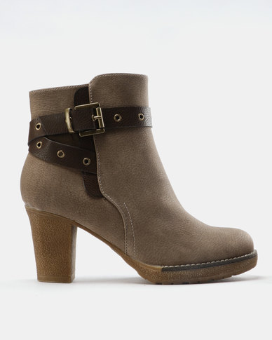 Franco Ceccato Ankle Boots With Contrast Belt Taupe