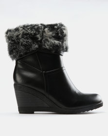 FRANCO CECCATO FUR COLLAR ANKLE BOOT ON WEDGE