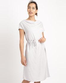 Lunar Draped Neck Tencel Dress Silver