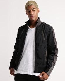 Utopia Mens Lightweight Jacket With Zip Detail Black/Grey