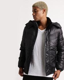 Utopia Mens Hooded Puffer Jacket Black
