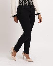 Utopia Ladies Cotton Blend Slim Leg Trousers Black
