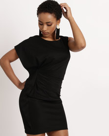 Utopia Asymetrical Ruffle Shift Dress Black