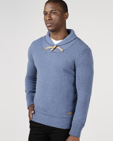 Utopia Mens Shawl Neck Jumper Blue