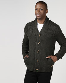 Utopia Mens Cardigan Forest Green
