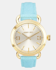 Sissy Boy Round Faced Watch with Leather Strap Turquoise/Gold-tone