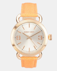 Sissy Boy Round Faced Watch with Leather Strap Rose Peach/Gold-tone