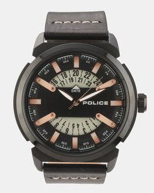 Police Date Black Leather Strapped Watch Black