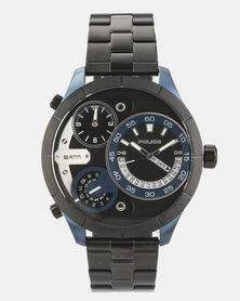 Police Bushmaster Black Leather Strapped Watch Black