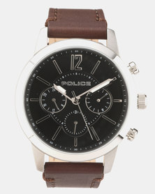 Police Legacy Brown Leather Strapped Watch Brown