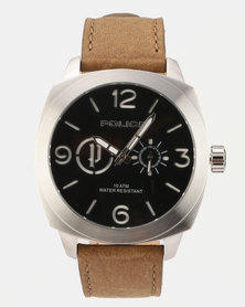 Police Context Brown Leather Strapped Watch Brown