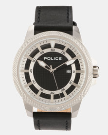 Police Valiance  Black Leather Strapped Watch Black