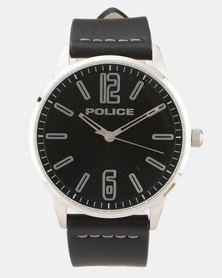 Police Esquire X Black Leather Strapped Watch Black