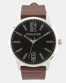 Police Esquire X Brown Leather Strapped Watch Brown