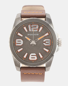 Police Vinyl Brown Leather Strapped Watch Brown