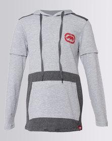 ECKÓ Unltd Boys Curved Hem Short Sleeve Hoodie Grey & Charcoal Melange