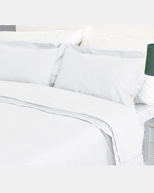 Sheraton Duvet Oxford Straight Stitch Set White