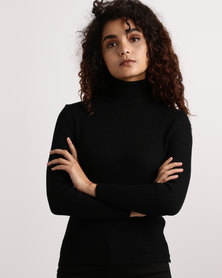My Style Knitwear Poloneck Black