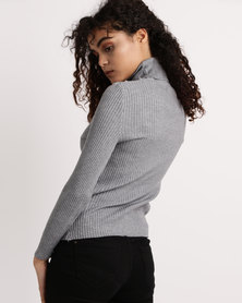 My Style Knitwear Poloneck Grey